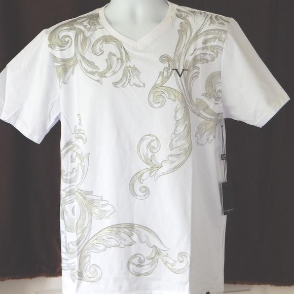 2f716876 Versace 19V69 Italy Golden Paisley White T Shirt NWT